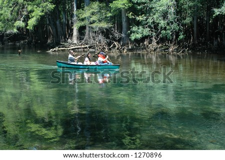 Canoeists paddle down the spring run.