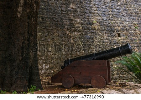 Canon near Citadel in old town of Budva, Montenegro