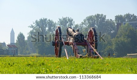 canon standing on a hill in the netherlands - stock photo