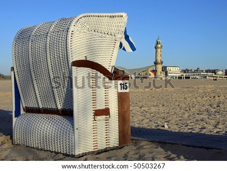 canopied beach chair at the beach in Warnemünde (Germany)