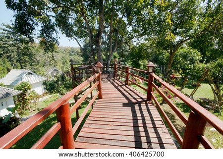Canopy walk in a tropical rainforest in Thailand - stock photo