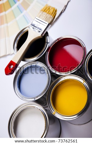 Cans and paint and brush - stock photo