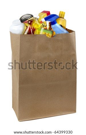 cans, bottles and boxes shot in brown paper grocery bag, silhouetted on white background - stock photo