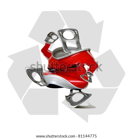 Cans for recycling on a white background, isolated. - stock photo