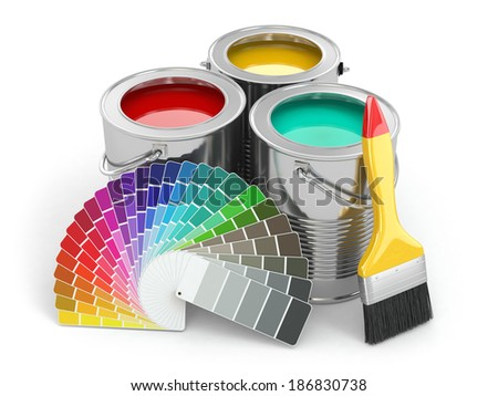 Cans of paint with colour palette and paintbrush. 3d - stock photo