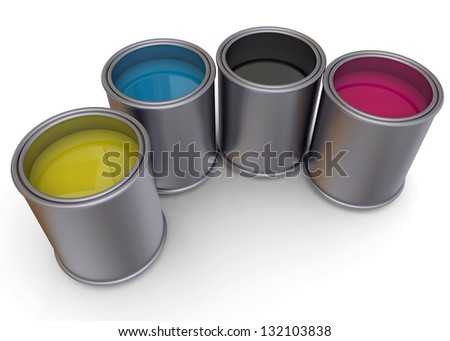 CANS OF PRINT COLOR - 3D - stock photo