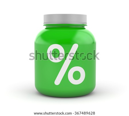 Cans of protein or gainer powder with percent sign - stock photo