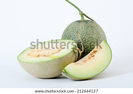 cantaloupe melon,Full and Sliced Cantaloupe Isolated on White Background