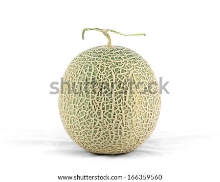 cantaloupe melon isolate on a white background - stock photo