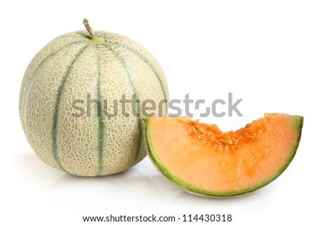 Cantaloupe melon on a white background - stock photo