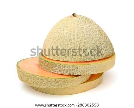 cantaloupe melon on white background  - stock photo