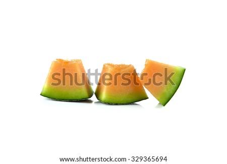 cantaloupe melon on white background. - stock photo