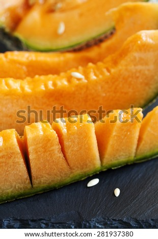 Cantaloupe melon slices. - stock photo
