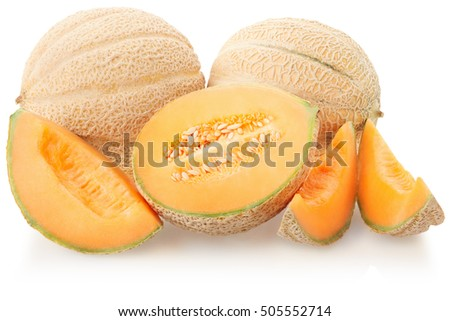 Cantaloupe melons group on white, clipping path