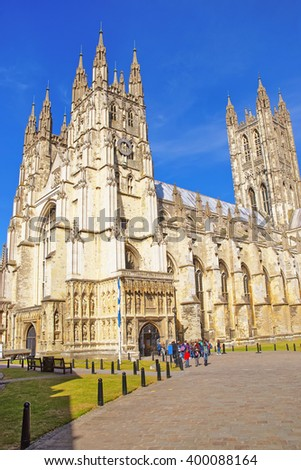 Canterbury Cathedral in Canterbury in Kent of England. It is one of the most famous cathedrals in England. It is the Archbishop of Canterbury Cathedral. - stock photo