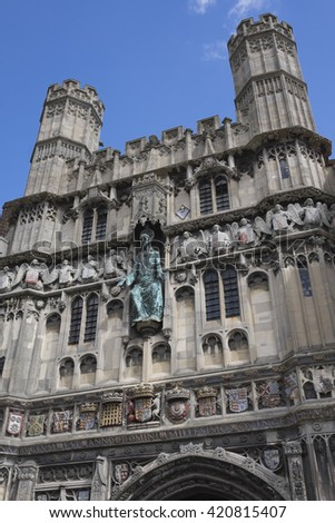 CANTERBURY, KENT/UNITED KINGDOM - APRIL 24 2016 - Facade of the outside entrance of the Canterbury Cathedral in Canterbury, United Kingdom