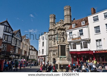 CANTERBURY,UK-APRIL 17: The Gates of Canterbury Cathedral and the Buttermarket  Canterbury's historic centre, a UNESCO World Heritage site and top visitor destination. April 17, 2014 Canterbury UK - stock photo