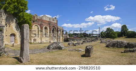 CANTERBURY, UK - JULY 19TH 2015: A panoramic view of the historic remains of St. Augustines Abbey in Canterbury, Kent on 19th July 2015. - stock photo
