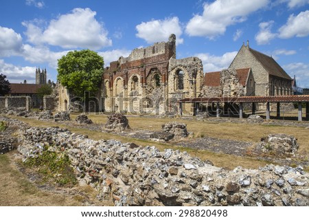 CANTERBURY, UK - JULY 19TH 2015: The remains of the historic St. Augustines Abbey in Canterbury, Kent on 19th July 2015.  The tower of Canterbury Cathedral can be seen in the distance. - stock photo