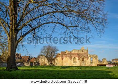 Canterbury, United Kingdom - December 23, 2015: Ruins of St Augustine's Abbe in Canterbury as seen on 23rd of December, 2015.  Abbey was founded in 598. - stock photo