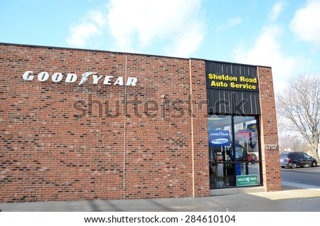 CANTON, MI - DECEMBER 31:  Goodyear, whose Canton location is shown on December 31, 2014, is the only tire supplier for NASCAR. - stock photo