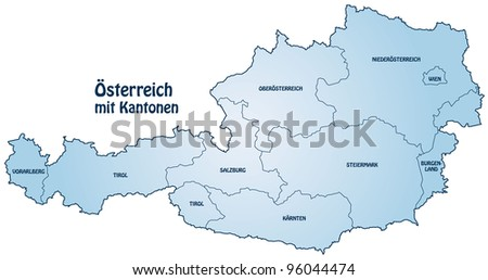 cantons of Austria in blue