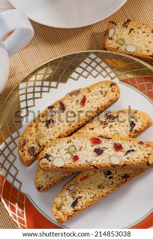 Cantucci with pistachio, almonds and dried fruits. - stock photo