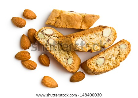 cantuccini cookies and almonds on white background - stock photo