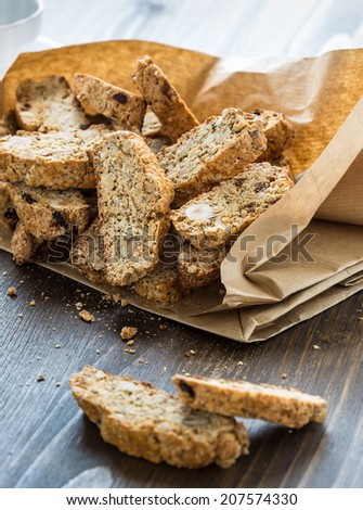 Cantuccini cookies in a paper bag