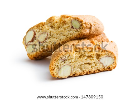 cantuccini cookies on white background - stock photo