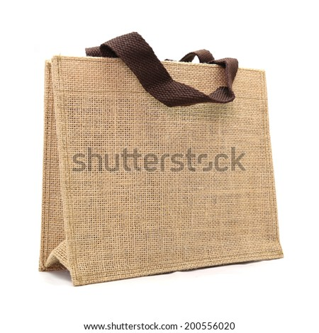 canvas bag isolated on white background - stock photo