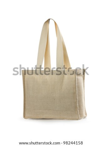 canvas beach bag on a white background. Isolated path included - stock photo