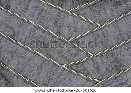 canvas fabric with zipper and stitching - stock photo