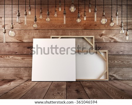 Canvas for paintings mockup poster stands at the wall. Hanging light bulb over the table and painting mockup poster. The decor book. 3D render. - stock photo