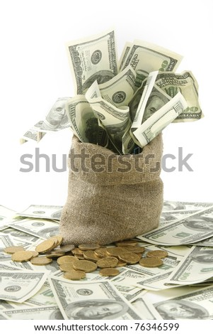Canvas money sack with one hundred dollar bills