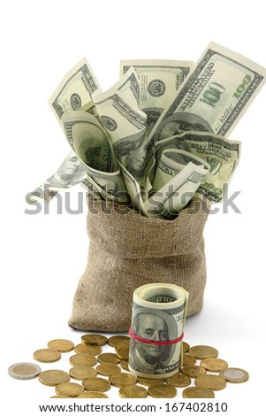 Canvas money sack with one hundred dollar bills, isolated on white background - stock photo