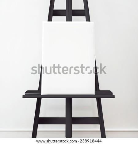 Canvas on the black easel in interior. - stock photo