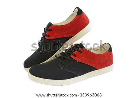 canvas shoes black and red on white background - stock photo