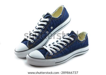 canvas shoes jeans on white background