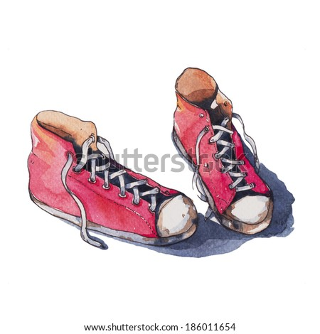 canvas shoes , watercolor