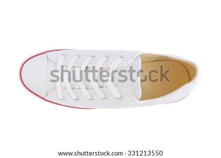 canvas shoes white on white background - stock photo