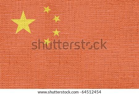 canvas styled flag of china - stock photo