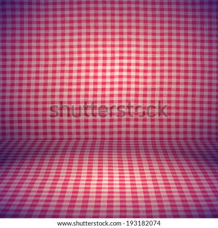 Canvas texture or background. Red checked tablecloth view from top. Empty tablecloth for product montage. Free space for your text - stock photo