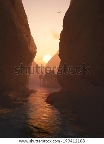 canyon at sunrise - stock photo