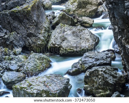 canyon Breitachklamm in the German Alps - stock photo