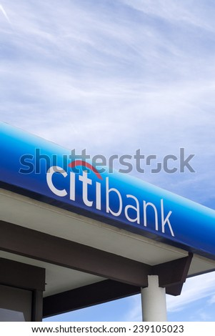 CANYON COUNTRY, CA/USA - DECEMBER 14, 2014: Citibank bank exterior and sign. Citibank is the consumer banking division of financial services multinational Citigroup.