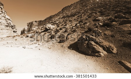 Canyon En Avedat of the Negev Desert in Israel, Vintage Style Sepia