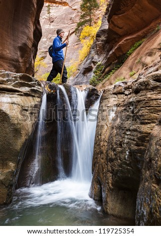 Canyon Hike. (Orderville Canyon in Zion National Park, Utah) - stock photo