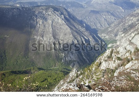 Canyon of river Tara, Montenegro, view from above - stock photo