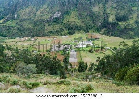 Canyon of Toachi river near Quilotoa crater, Ecuador. Itualo village visible.